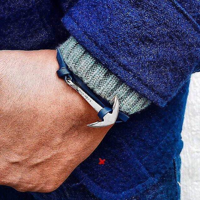 Virginstone Bracelet - Anchor Bracelet Navy Blue leather / Silver
