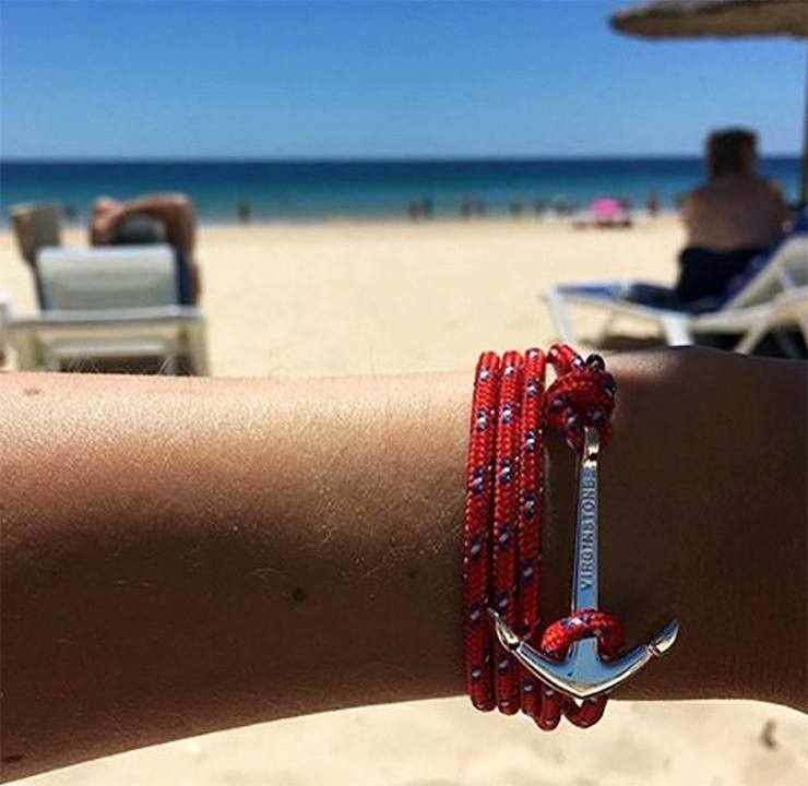 Virginstone Bracelet - Anchor Bracelet Red + Silver beach