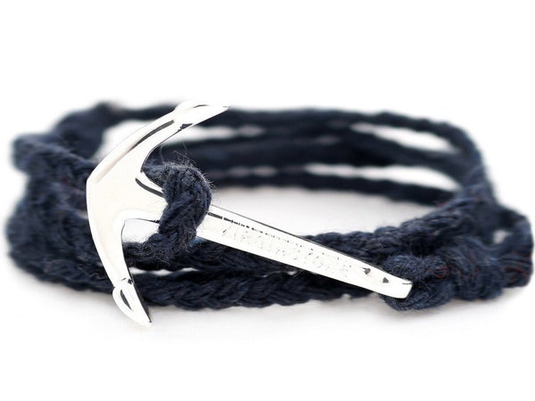 Virginstone Cotton Bracelet - Anchor Bracelet Blue / Silver