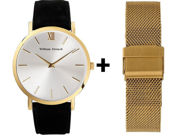 William Strouch Watch - BLACK AND SILVER STREAK + GOLD STRAP