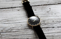 William Strouch Watch - CLASSIC BLACK+ GOLD STRAP