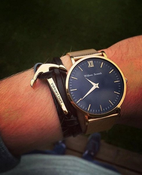 William Strouch Watch - CLASSIC GOLD + LEATHER STRAP virginstone anchor bracelet