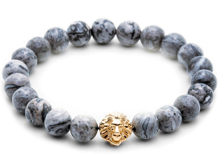 Atolyestone Bracelet - 18K YELLOW GOLD LION GREY JASPER