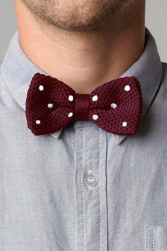 Bow Tie - Knit Bow Tie Red Polka