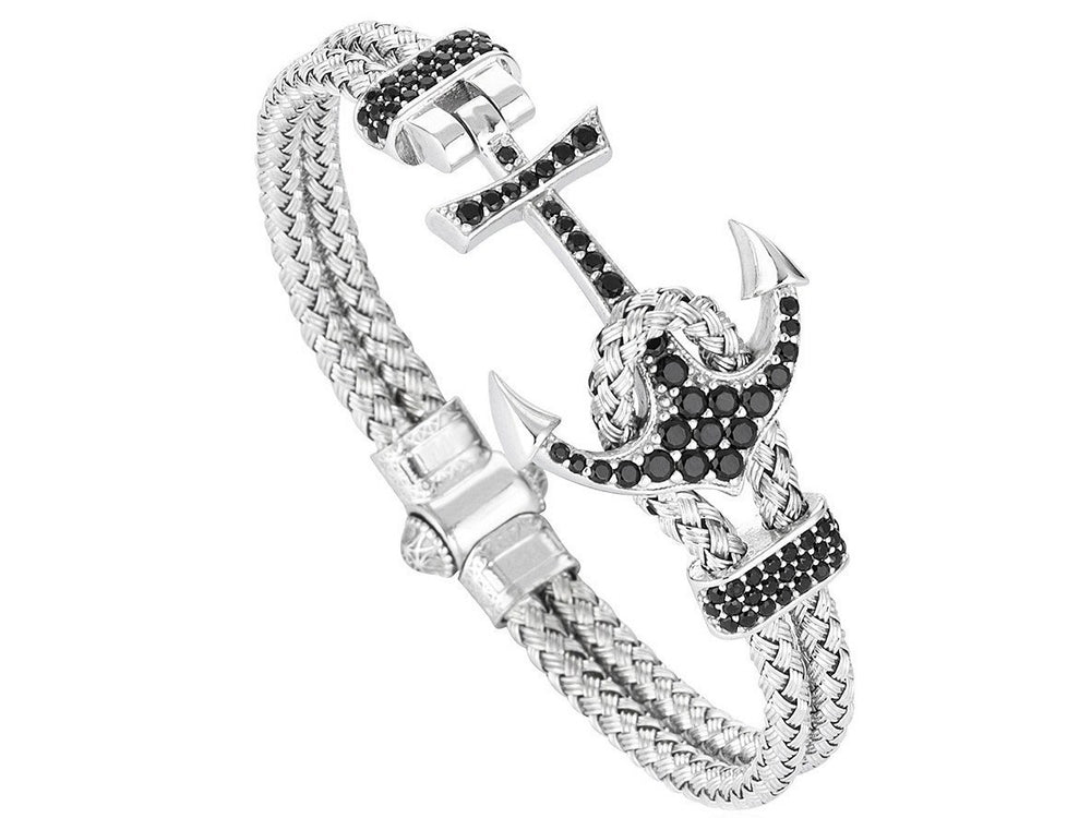 Bracelet - 18K WHITE GOLD ANCHOR BANGLE