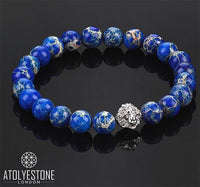 Bracelet - 18K WHITE GOLD LION BLUE JASPER