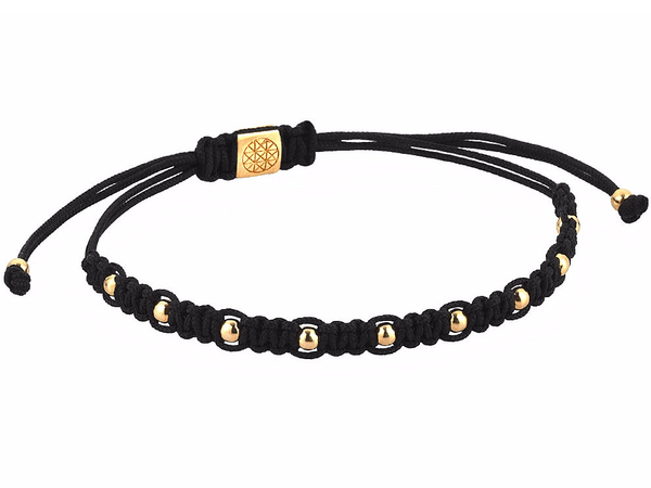 Bracelet - 18K YELLOW GOLD 9 BALLS BLACK