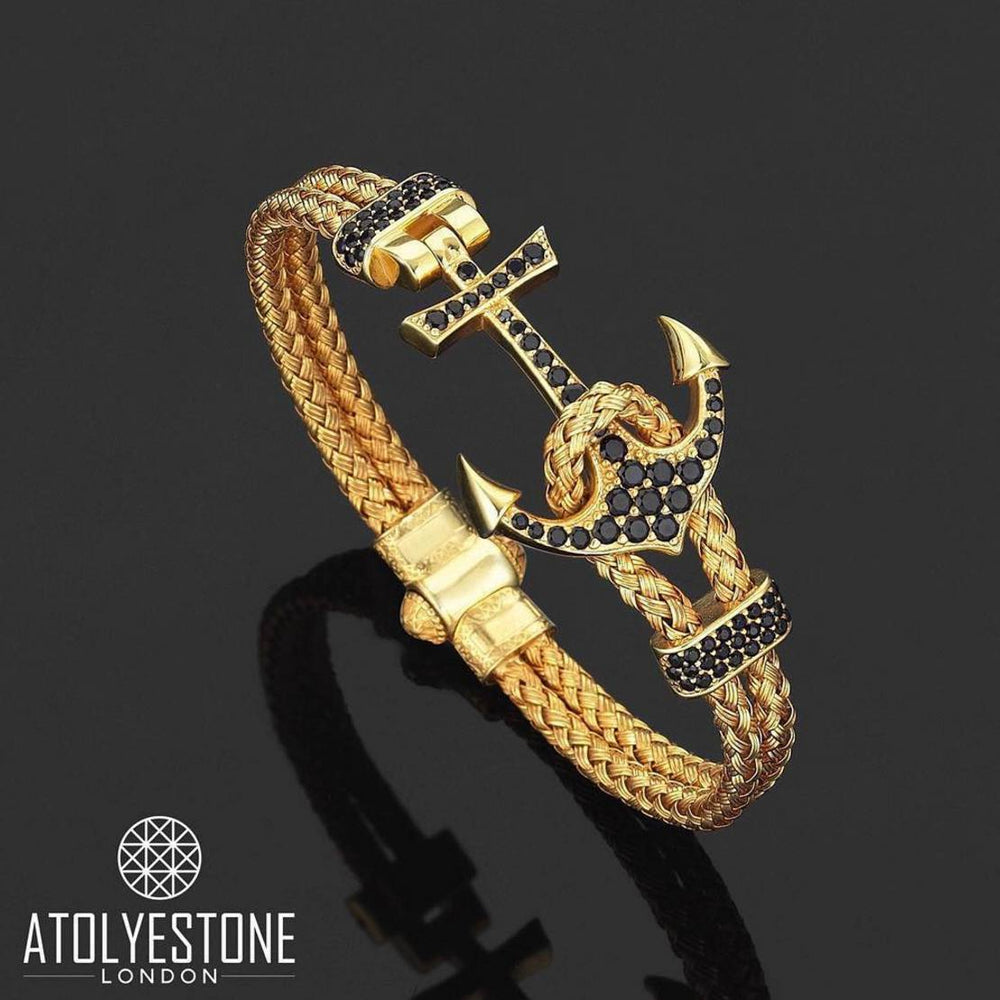Bracelet - 18K YELLOW GOLD ANCHOR BANGLE