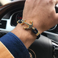 Bracelet - 18K YELLOW GOLD ANCHOR BLACK LEATHER