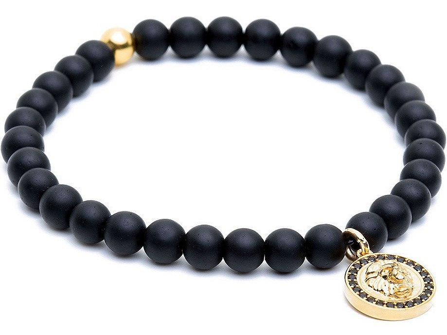 Bracelet - 18K YELLOW GOLD LION CHARM ONYX