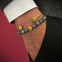 Bracelet - 18K YELLOW GOLD LION GREY JASPER