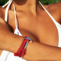 Bracelet - Anchor Bracelet Red + Gold