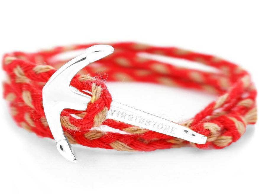 Bracelet - Anchor Bracelet Red + Silver