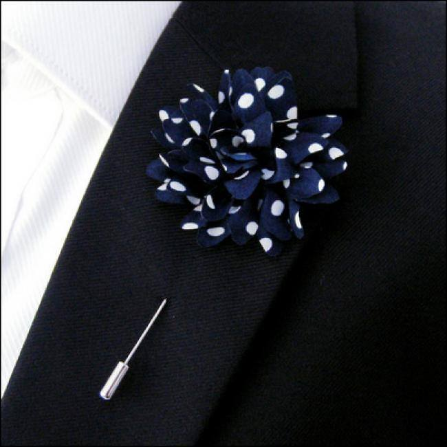 Lapel Pin - Lapel Flower Navy Polka