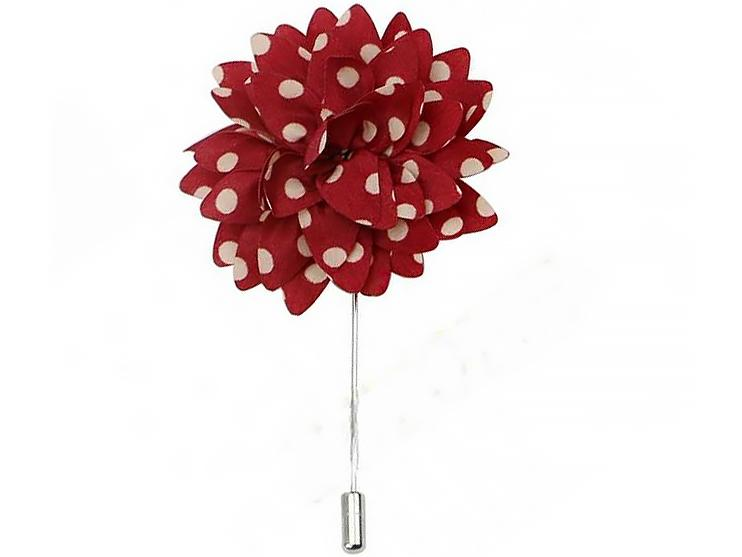 Lapel Pin - Lapel Flower Red Polka