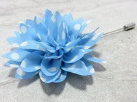 Lapel Pin - Lapel Flower Sky Blue Polka
