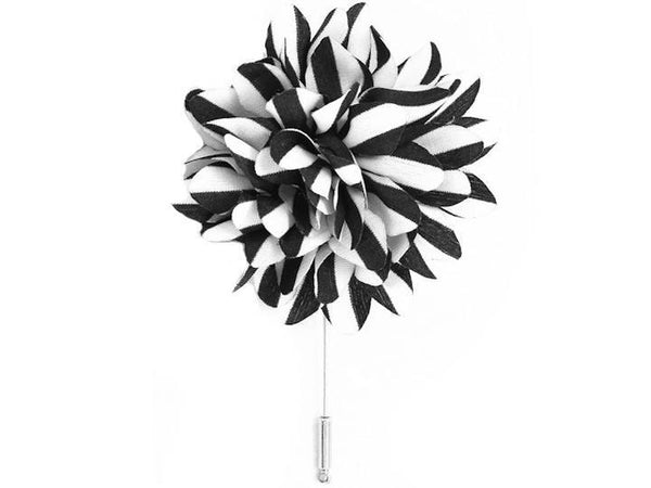 Lapel Pin - Lapel Flower Stripes Black / White