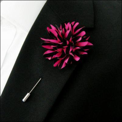 Lapel Pin - Lapel Flower Stripes Purple / Black