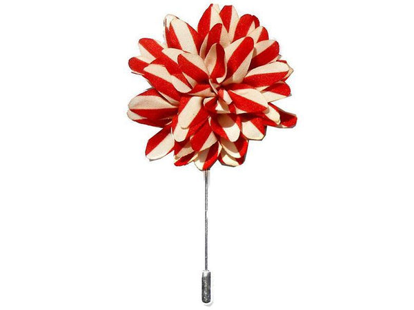 Lapel Pin - Lapel Flower Stripes Red / Cream White
