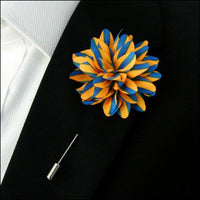 Lapel Pin - Lapel Flower Stripes Yellow / Blue