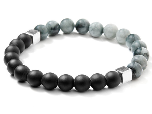 Liel and lentz Bracelet - 925K SILVER GREY ON BLACK