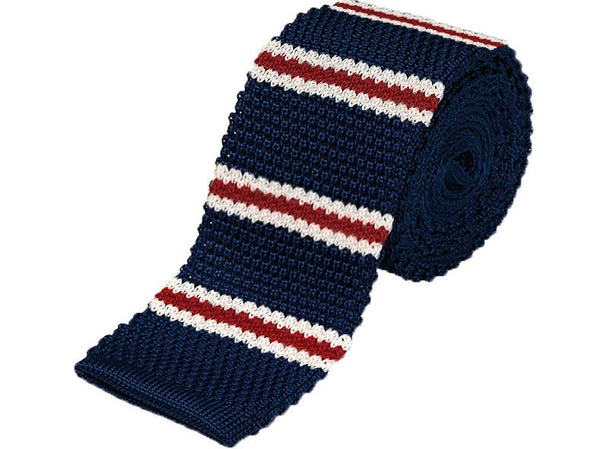 Tie - Knit Tie Blue Stripes