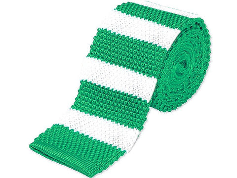 Tie - Knit Tie Green Stripes