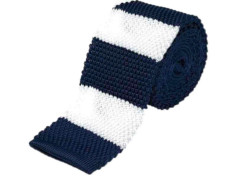 Tie - Knit Tie White And Blue
