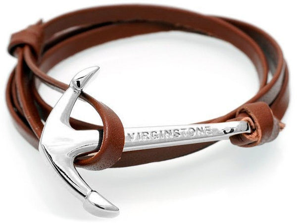 virginstone Bracelet - Anchor Bracelet Brown / Silver