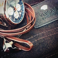 virginstone Bracelet - Anchor Bracelet Brown leather / Silver versace rotary watch
