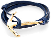 virginstone Bracelet - Anchor Bracelet Navy Blue leather / Gold