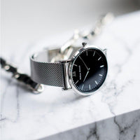 Watch - BLACK AND SILVER + SILVER STRAP