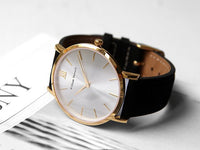 Watch - BLACK AND SILVER STREAK + GOLD STRAP