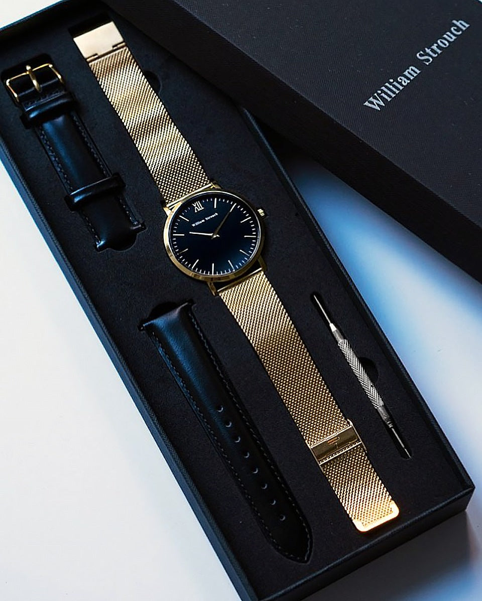 Watch - CLASSIC GOLD + LEATHER STRAP