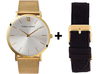 Watch - GOLD AND SILVER STREAK + LEATHER STRAP