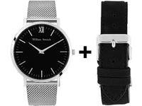 Watch - SILVER AND BLACK + LEATHER STRAP