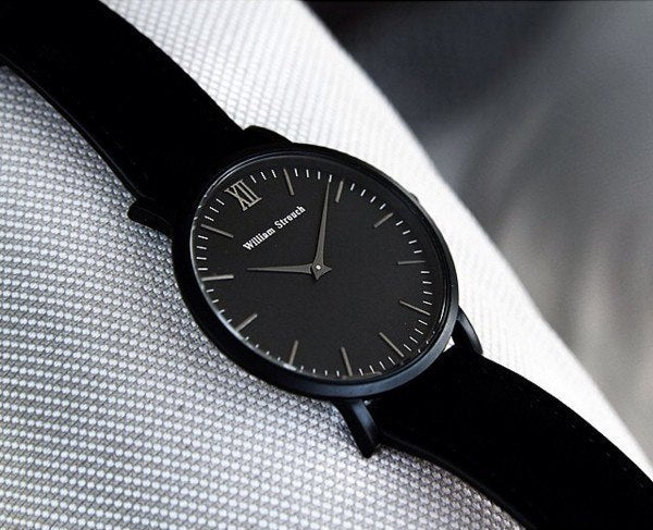 William Strouch Watch - CLASSIC BLACK + BLACK STRAP