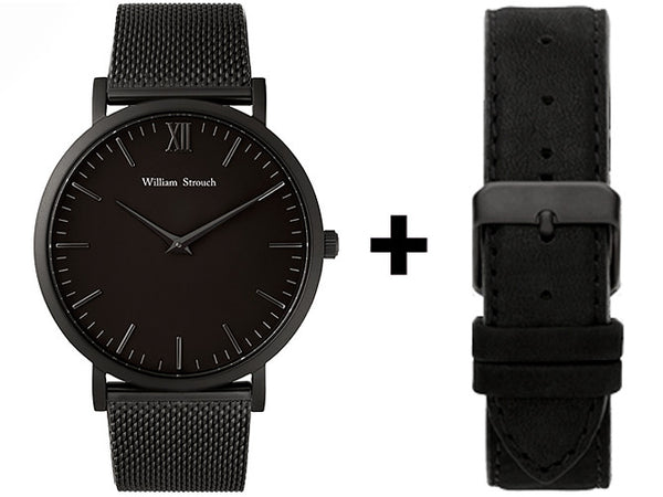 William Strouch Watch - CLASSIC CM BLACK + LEATHER STRAP