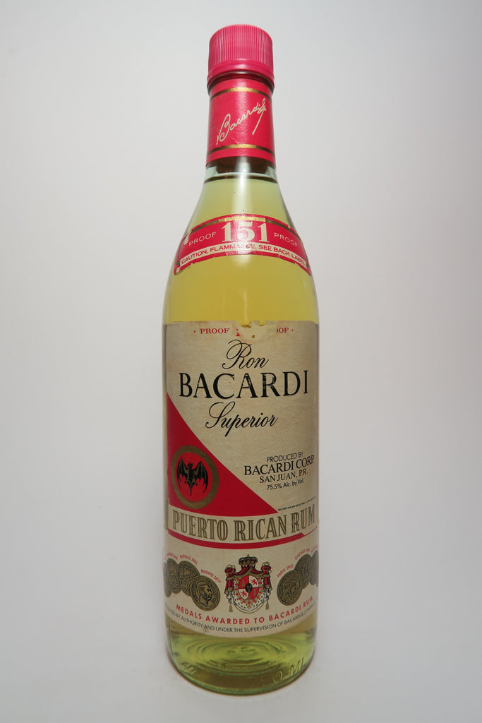 Bacardi 151 Ron Superior Puerto Rican Rum - Early 1980s (75.5%, 75cl)