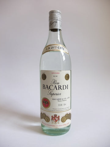 Bacardi Carta Blanca (Light) Rum - 1980s (37.5%, 75cl)