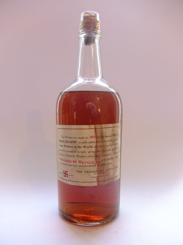 Frankfort Distillery, Kentucky American Whiskey - Distilled 1910	(50%?, 94.6cl)