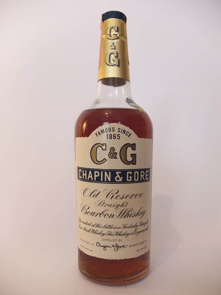 Chapin & Gore 6YO Old Reserve Straight Bourbon Whiskey - Distilled 1959 / Bottled 1965 (43%, 75.7cl)