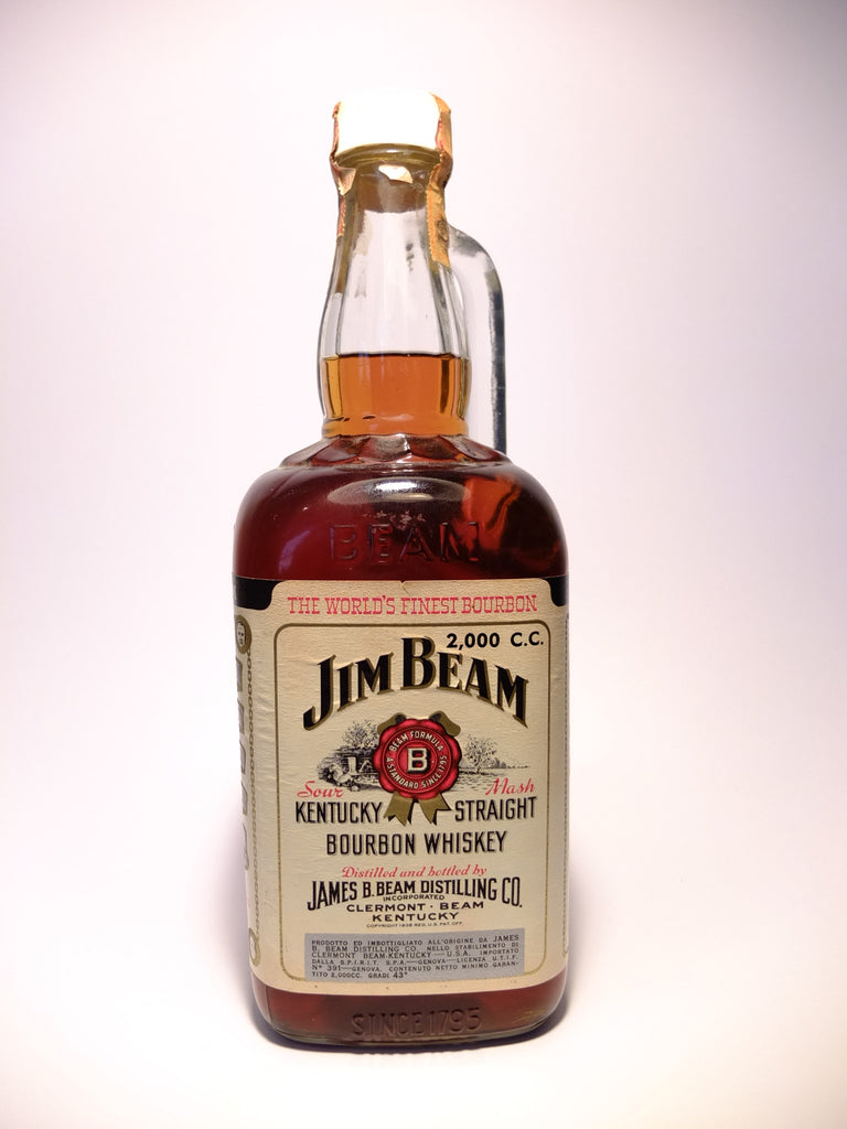 Jim Beam White Label 5YO Kentucky Straight Bourbon Whiskey - Distilled 1964, Bottled 1969 (43%, 200cl)