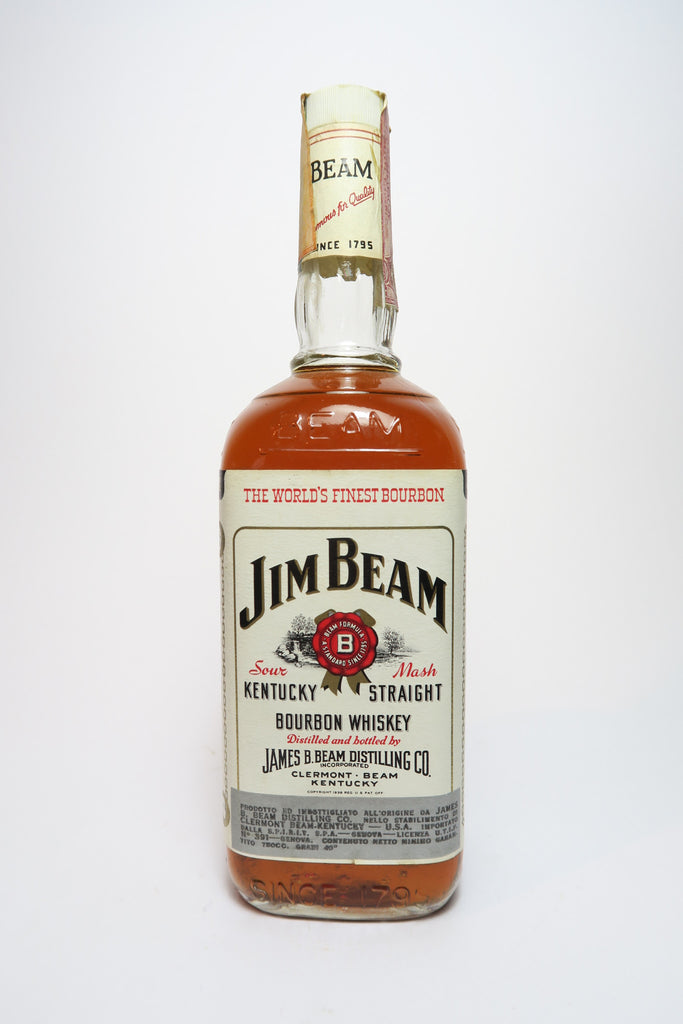 Jim Beam 4YO White Label Kentucky Straight Bourbon Whiskey - Distilled 1972, Bottled 1976 (40%, 75cl)
