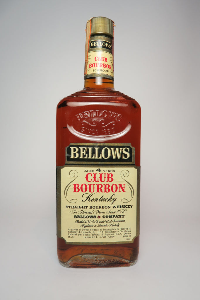Bellow's Club 4YO Kentucky Straight Bourbon Whiskey - Distilled 1974, Bottled 1978 (43%, 75cl)
