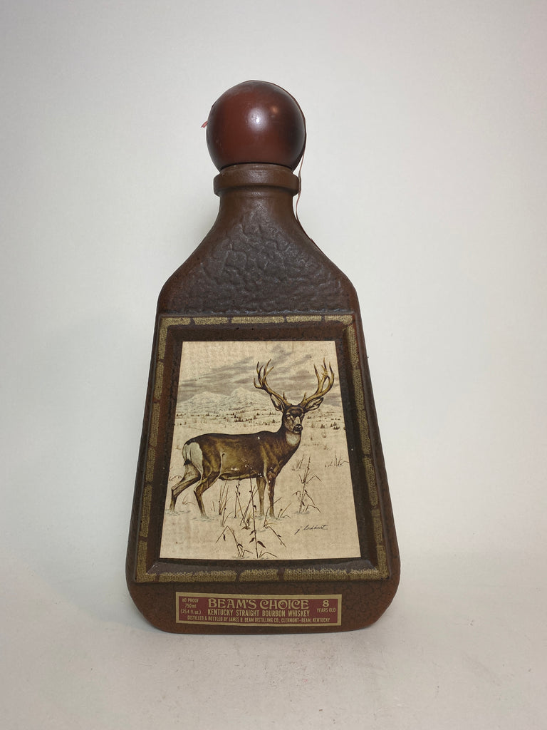 James B. Beam Distilling Co. Beam 8YO Kentucky Straight Bourbon Whiskey in Glass Decanter Painted with Stag after James Lockhart - Distilled 1970 / Bottled 1978 (40%, 75cl)