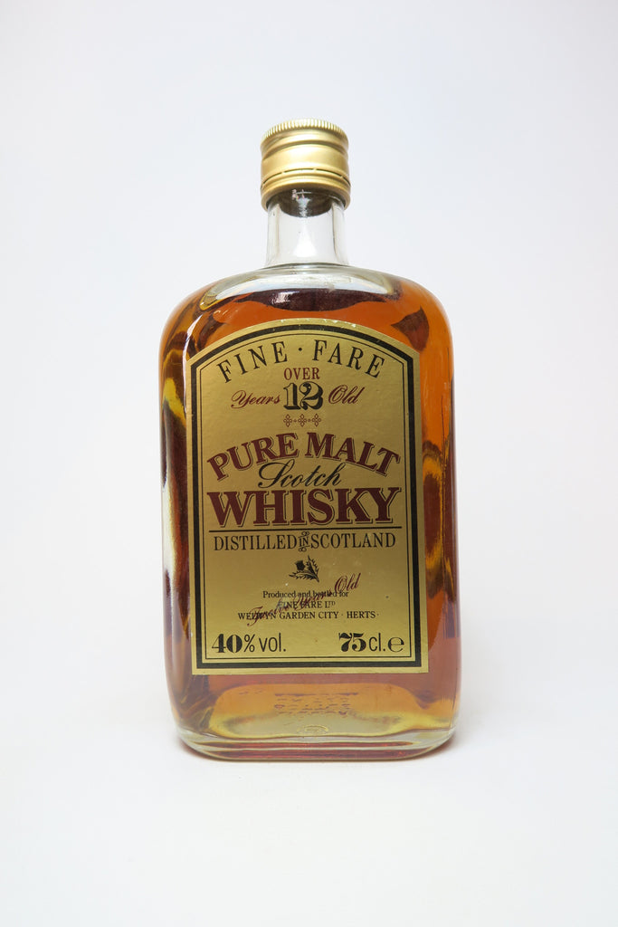 Fine Fare 12YO Pure Malt Scotch Blended Whisky - 1980s (40%, 75cl)
