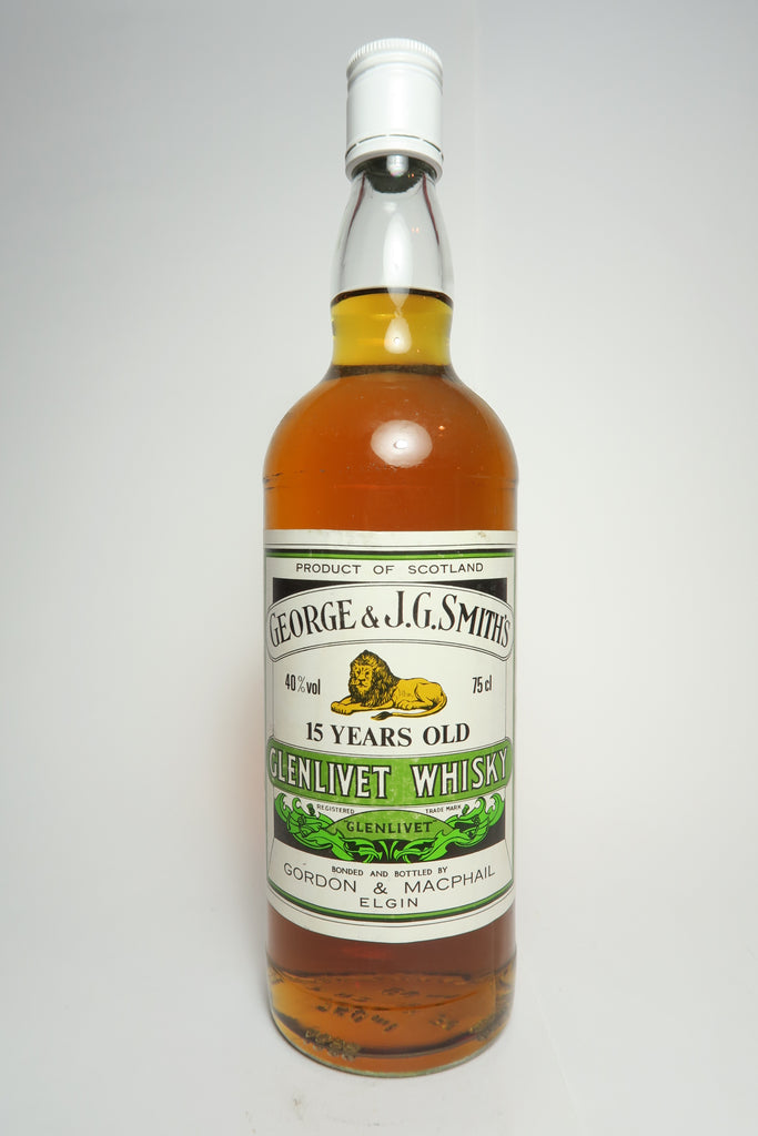 George & J.G. Smith's The Glenlivet 15YO Pure Malt Scotch Whisky [NB: Gordon & Macphail bottling] -  1980s (40%, 75cl)