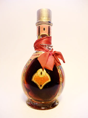 Cusenier Four Compartment Liqueur Bottle (Freezomint; Cherry Brandy Rich; Kummel; Apricot Brandy) 1950s