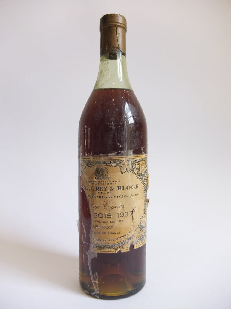 Block, Grey & Block Fin Bois Cognac 1937 Vintage - Landed 1948 / Bottled 1958 (39%, 70cl)